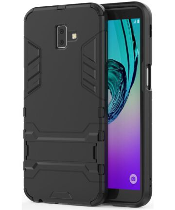 Samsung Galaxy J6 Plus Hybride Kickstand Hoesje Zwart