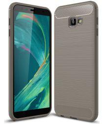 Samsung Galaxy J4 Plus Geborsteld TPU Hoesje Grijs