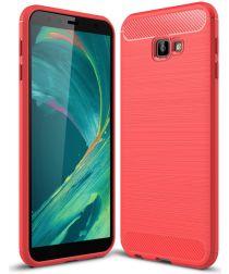 Samsung Galaxy J4 Plus Geborsteld TPU Hoesje Rood