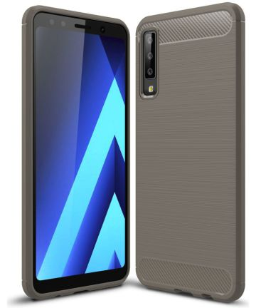 Samsung Galaxy A7 2018 Geborsteld TPU Hoesje Grijs Hoesjes