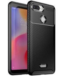 Xiaomi Redmi 6 Siliconen Carbon Hoesje Zwart