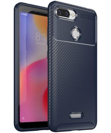 Xiaomi Redmi 6 Siliconen Carbon Hoesje Blauw