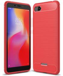 Xiaomi Redmi 6A Geborsteld TPU Hoesje Rood