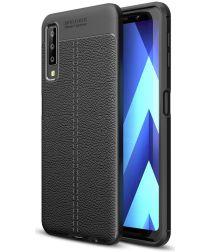 Samsung Galaxy A7 (2018) Hoesje met Kunstleer Coating Zwart