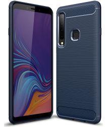 Samsung Galaxy A9 (2018) Geborsteld TPU Hoesje Blauw