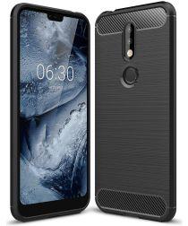 Nokia 7.1 Geborsteld TPU Hoesje Zwart