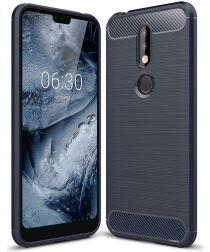 Nokia 7.1 Geborsteld TPU Hoesje Blauw