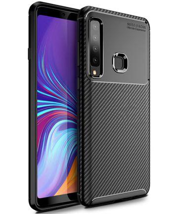 Samsung Galaxy A9 (2018) Siliconen Carbon Hoesje Zwart Hoesjes