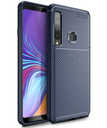 Samsung Galaxy A9 (2018) Siliconen Carbon Hoesje Blauw