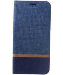 Huawei Mate 20 Lite Cross Pattern Wallet Hoesje Hoesje Blauw