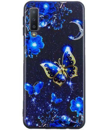Samsung Galaxy A7 (2018) TPU Backcover Print Blauwe Vlinder