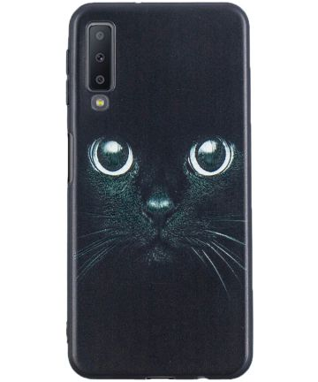Samsung Galaxy A7 (2018) TPU Backcover Print Cat Hoesjes