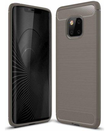 Huawei Mate 20 Pro Geborsteld TPU Hoesje Grijs Hoesjes