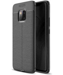 Huawei Mate 20 Pro Hoesje TPU Met Leren Textuur Zwart