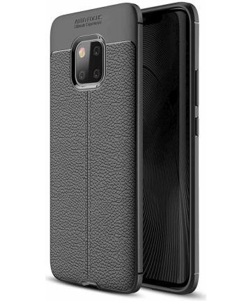 Huawei Mate 20 Pro Hoesje TPU Met Leren Textuur Zwart Hoesjes