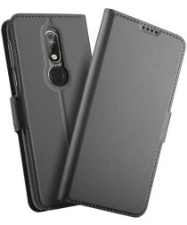 Nokia 7.1 Luxe Portemonnee Hoesje Zwart