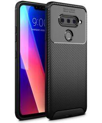 LG V40 Thinq Carbon TPU Hoesje Zwart
