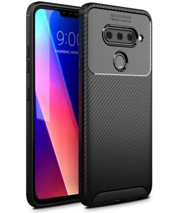 LG V40 Thinq Carbon TPU Hoesje Zwart Hoesjes