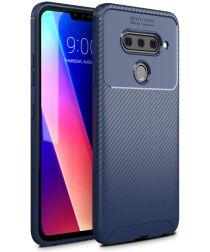LG V40 Thinq Carbon TPU Hoesje Blauw
