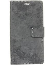 LG V40 Thinq Vintage Portemonnee Hoesje Grijs