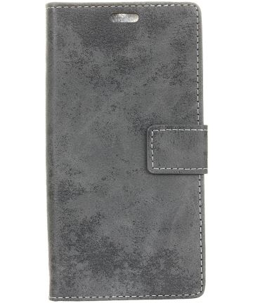 LG V40 Thinq Vintage Portemonnee Hoesje Grijs Hoesjes