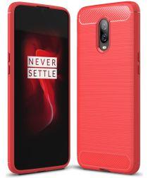 OnePlus 6T Geborsteld TPU Hoesje Rood