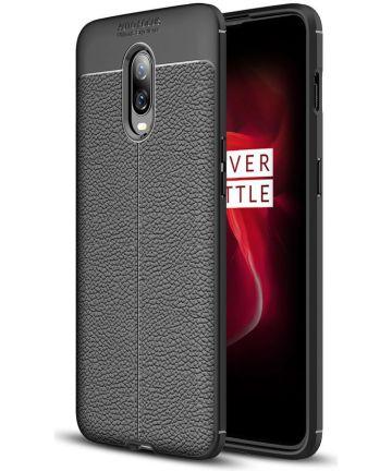 OnePlus 6T Litchi Kunstleren Coating TPU Hoesje Zwart Hoesjes