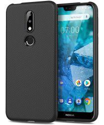 Nokia 7.1 Twill Texture TPU Hoesje Zwart