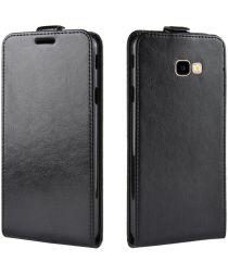 Samsung Galaxy J4 Plus Leren Verticale Fliphoesje Zwart