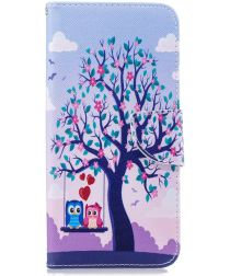 Samsung Galaxy J4 Plus Portemonnee Hoesje Print Owls on Swing