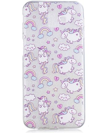 Samsung Galaxy J6 Plus TPU Backcover Print met Lovely Unicorns