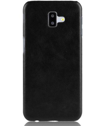 Samsung Galaxy J6 Plus Kunstlederen Coating Hoesje Zwart