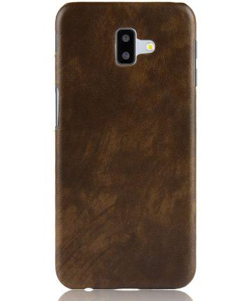 Samsung Galaxy J6 Plus Kunstlederen Coating Hoesje Bruin