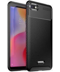 Xiaomi Redmi 6A Siliconen Carbon Hoesje Zwart