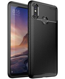 Xiaomi Mi Max 3 Siliconen Carbon Hoesje Zwart