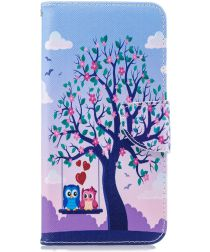 Samsung Galaxy J6 Plus Portemonnee Hoesje Print Owls and Swing