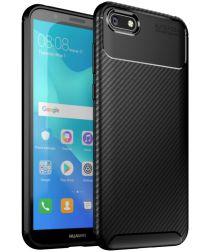 Huawei Y5 (2018) Siliconen Carbon Hoesje Zwart