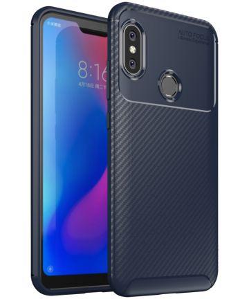 Xiaomi Mi A2 Lite Siliconen Carbon Hoesje Blauw Hoesjes