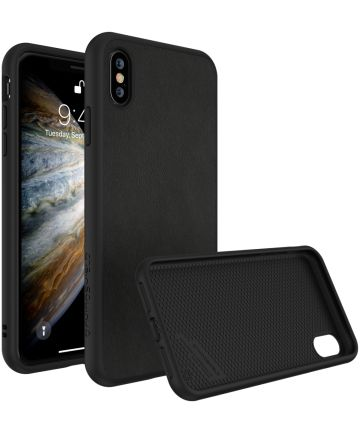 RhinoShield SolidSuit Black Leather iPhone XS Hoesje