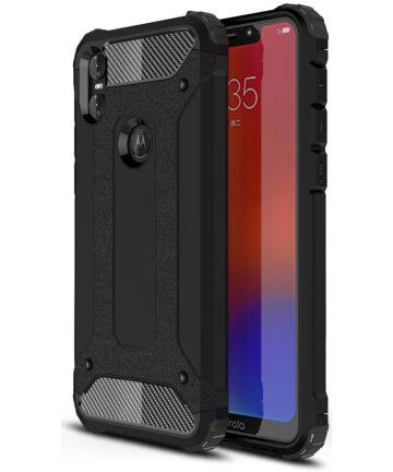 Motorola One Hybride Hoesje Zwart Hoesjes