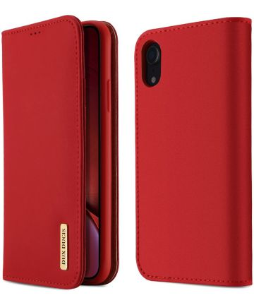 Dux Ducis Luxe Book Case Apple iPhone XR Hoesje Echt Leer Rood