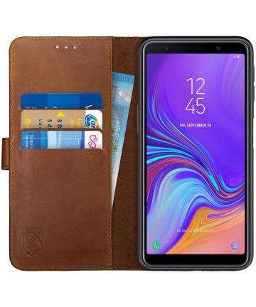 Rosso Deluxe Samsung Galaxy A7 2018 Hoesje Echt Leer Book Case Bruin Hoesjes