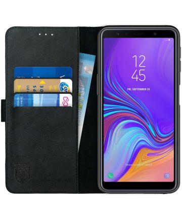 Rosso Deluxe Samsung Galaxy A7 2018 Hoesje Echt Leer Book Case Zwart