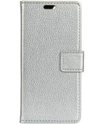 Samsung Galaxy J4 Plus Lychee Leren Portemonnee Hoesje Zilver