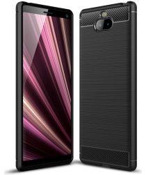 Sony Xperia 10 Plus Geborsteld TPU Hoesje Zwart