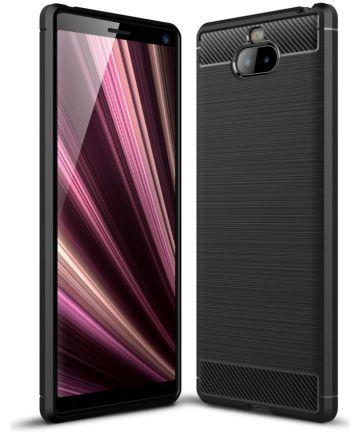 Sony Xperia 10 Plus Geborsteld TPU Hoesje Zwart Hoesjes