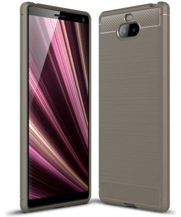 Sony Xperia 10 Plus Geborsteld TPU Hoesje Grijs