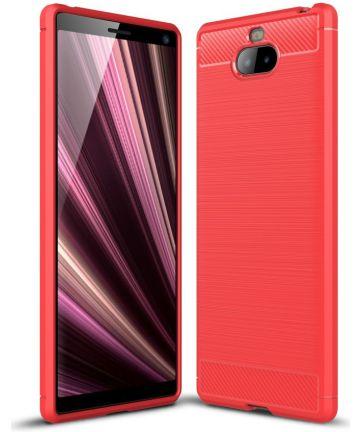 Sony Xperia 10 Plus Geborsteld TPU Hoesje Rood Hoesjes