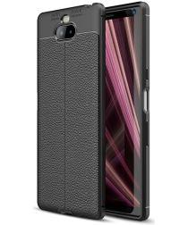 Sony Xperia 10 Plus Hoesje Met Leren Textuur Zwart