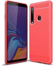 Samsung Galaxy A9 (2018) Geborsteld TPU Hoesje Rood